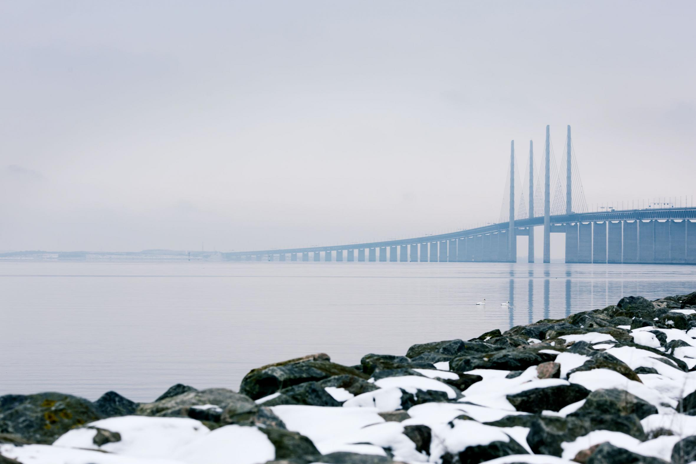 The Öresund Bridge in winter time