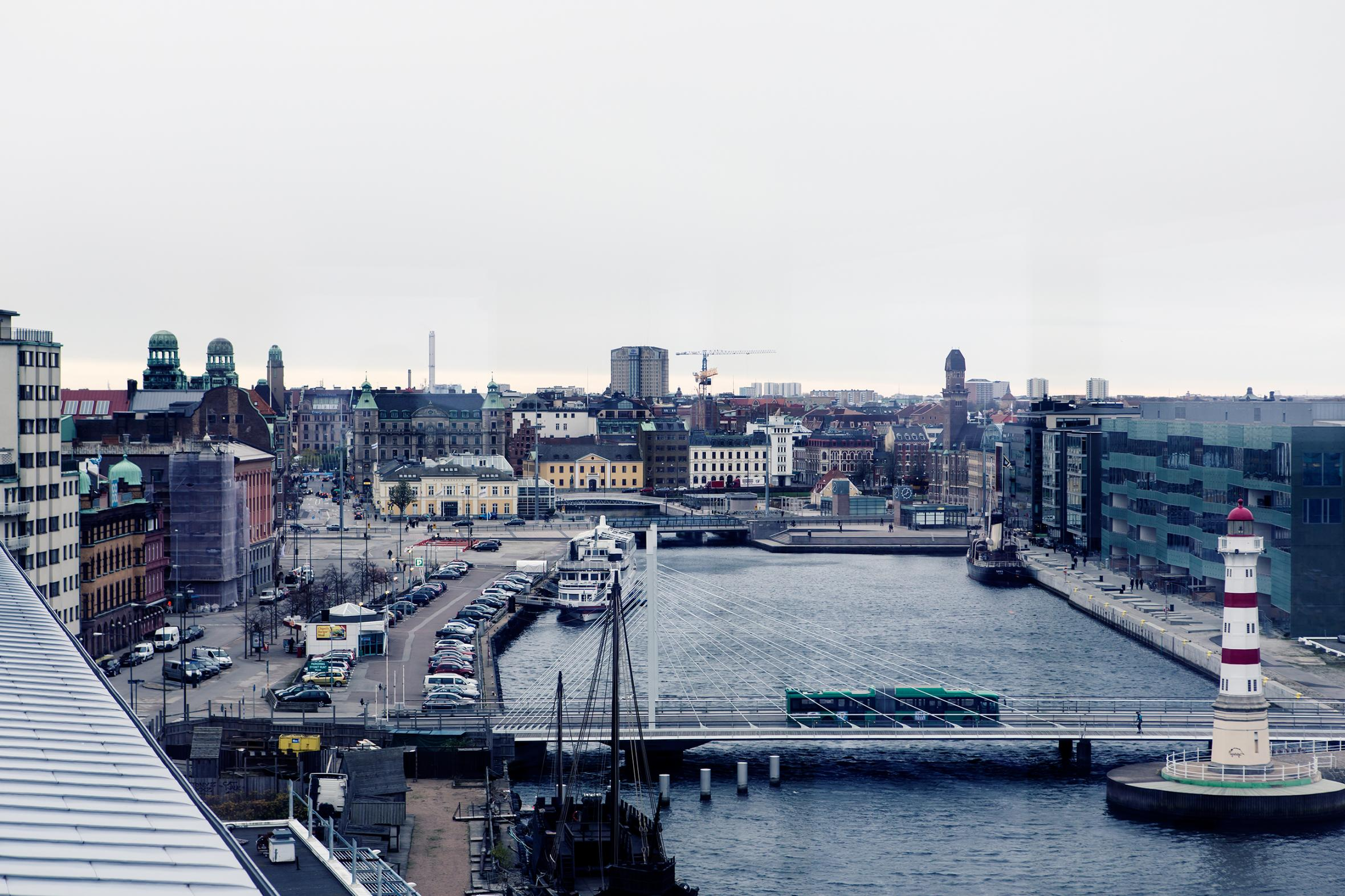View over Universitetsholmen and Skeppsbron in Malmö