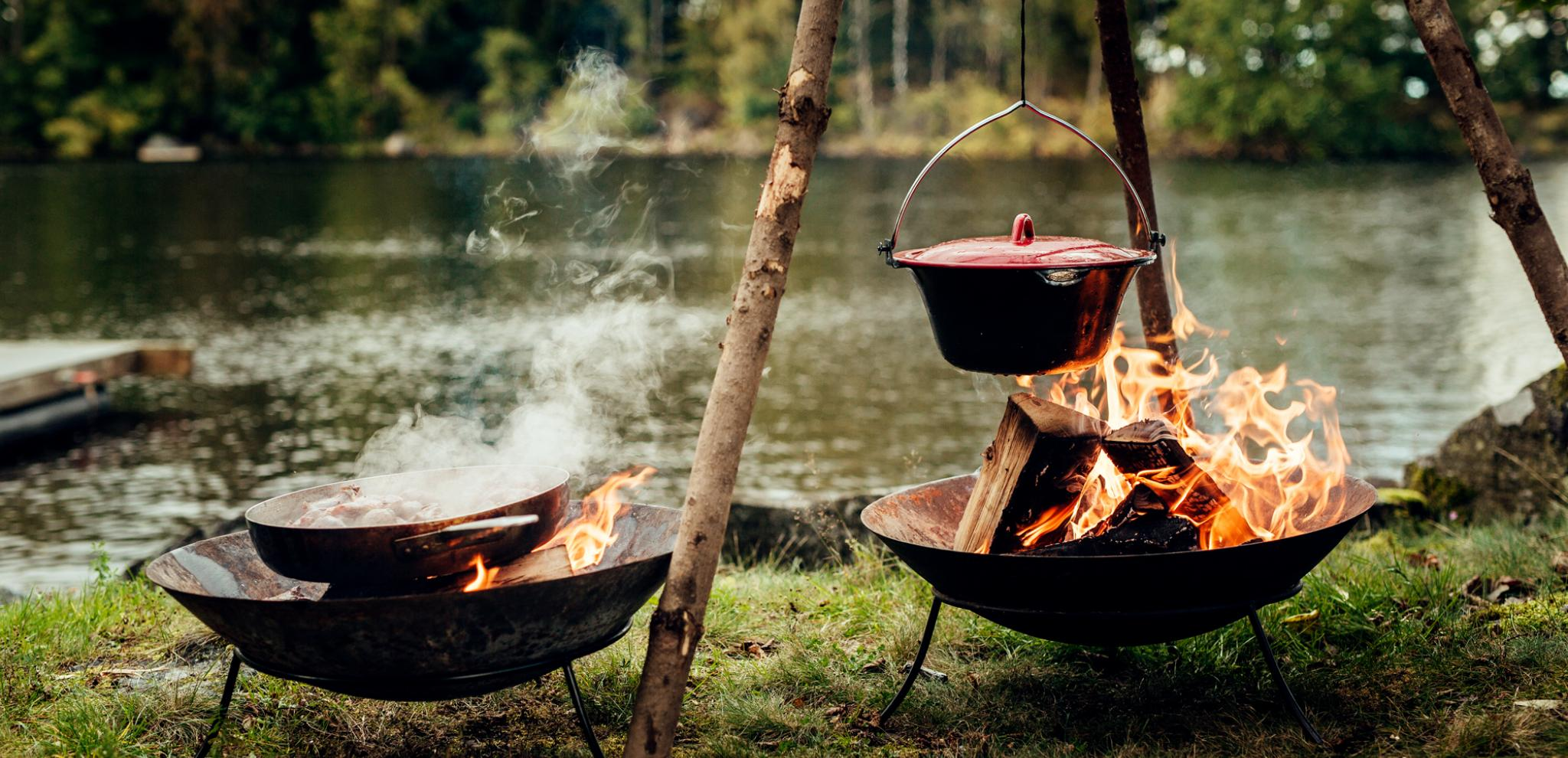Outdoor cooking at Lake Immeln