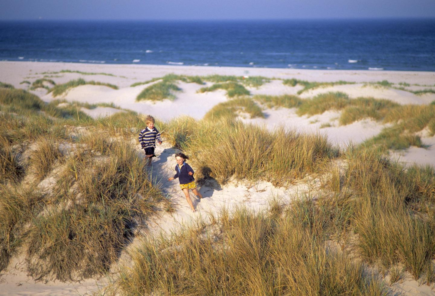 Children playing by the sand dunes at Sandhammaren