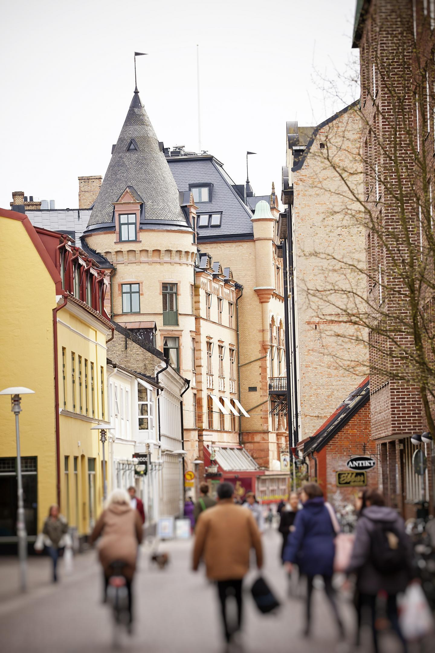One of the quaint shopping streets in Lund