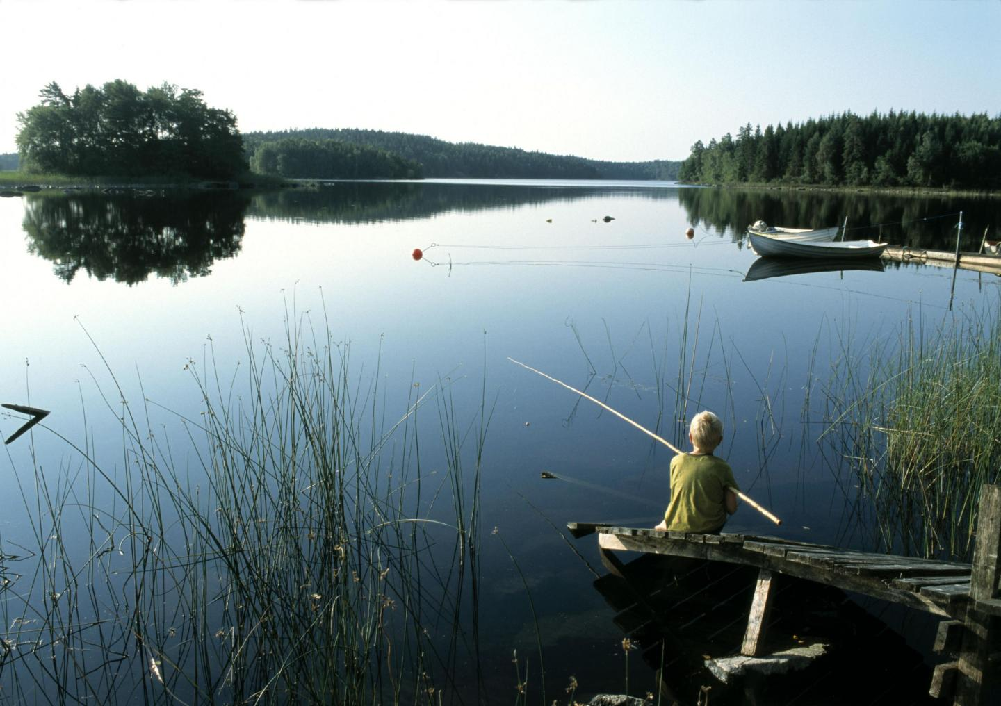 Boy fishing at Lake Immeln
