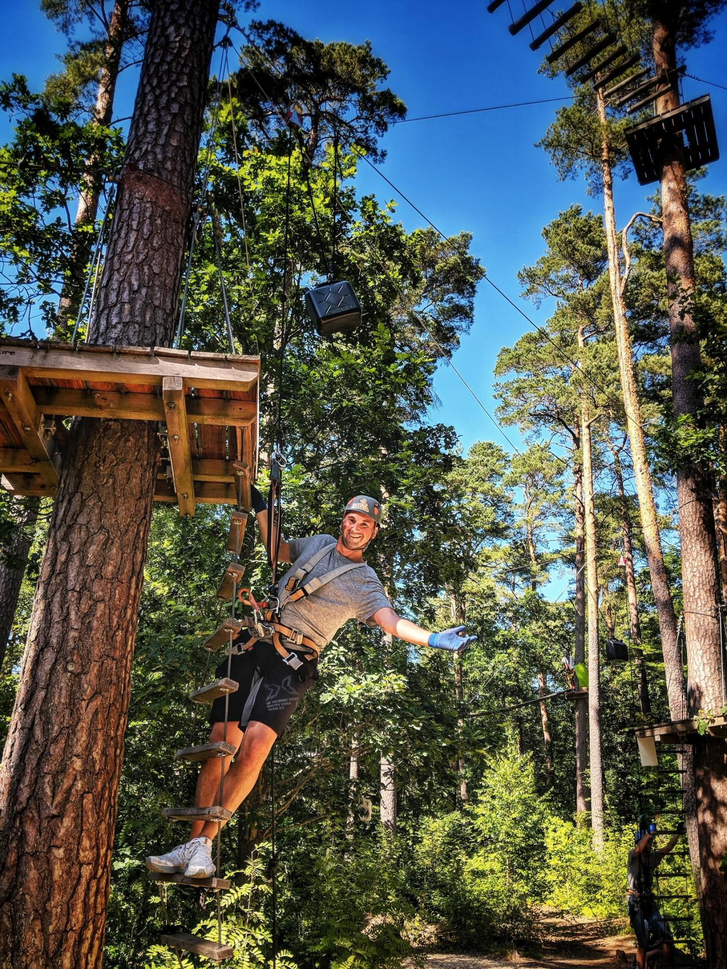 Man climb adventure course