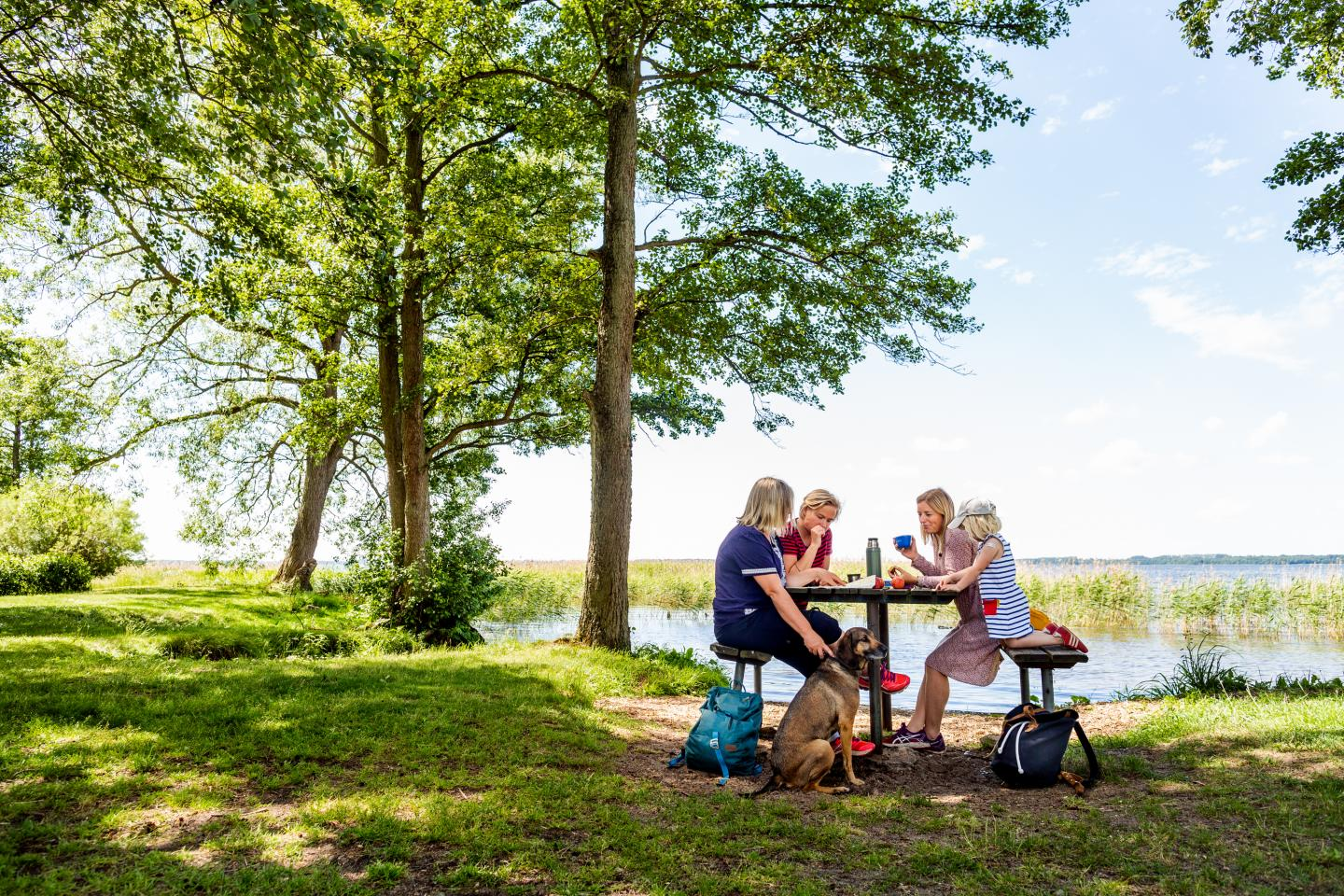 Three women, a child and a dog having coffee at a rest area next to a lake.