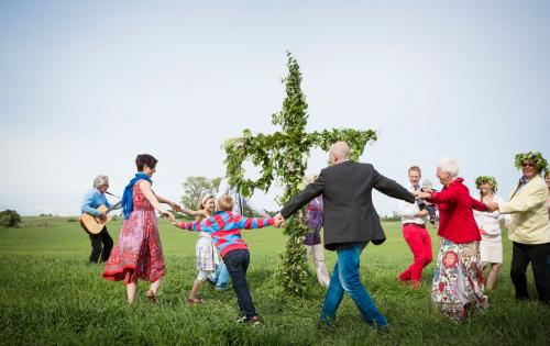 Dancing around the maypole on midsummer in Skåne