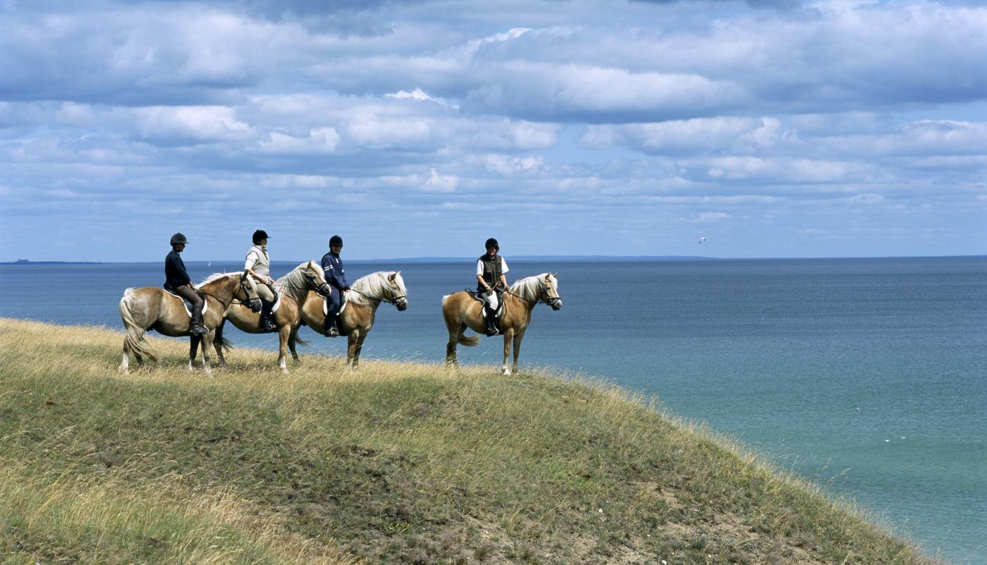Four horse riders by the sea