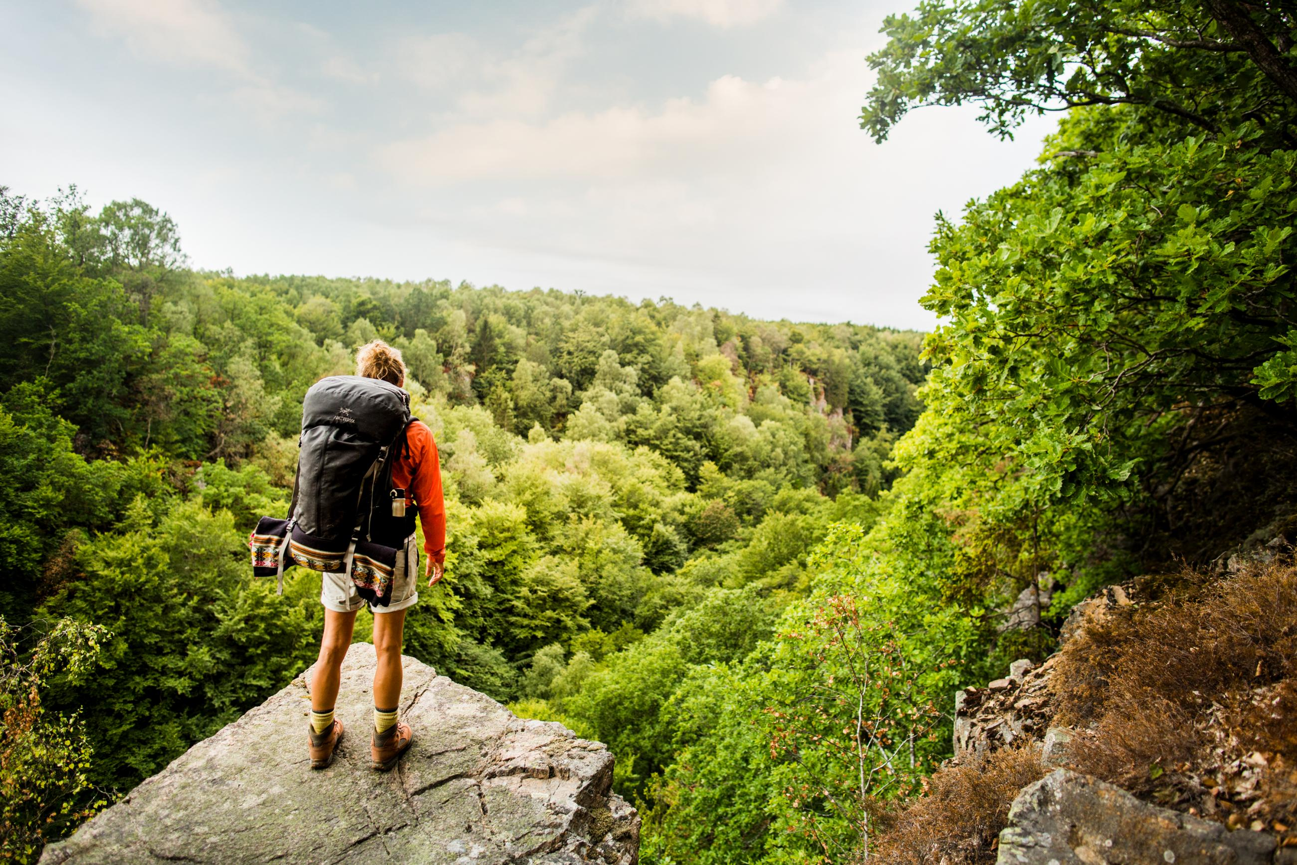Man standing high up on a rock and looks out at the expanses of green nature