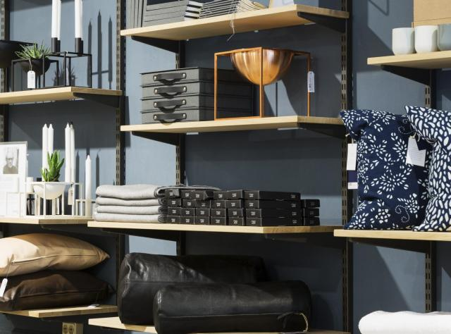 Shelves with design products in the Swedish interior design store Norrgavel in central Malmö